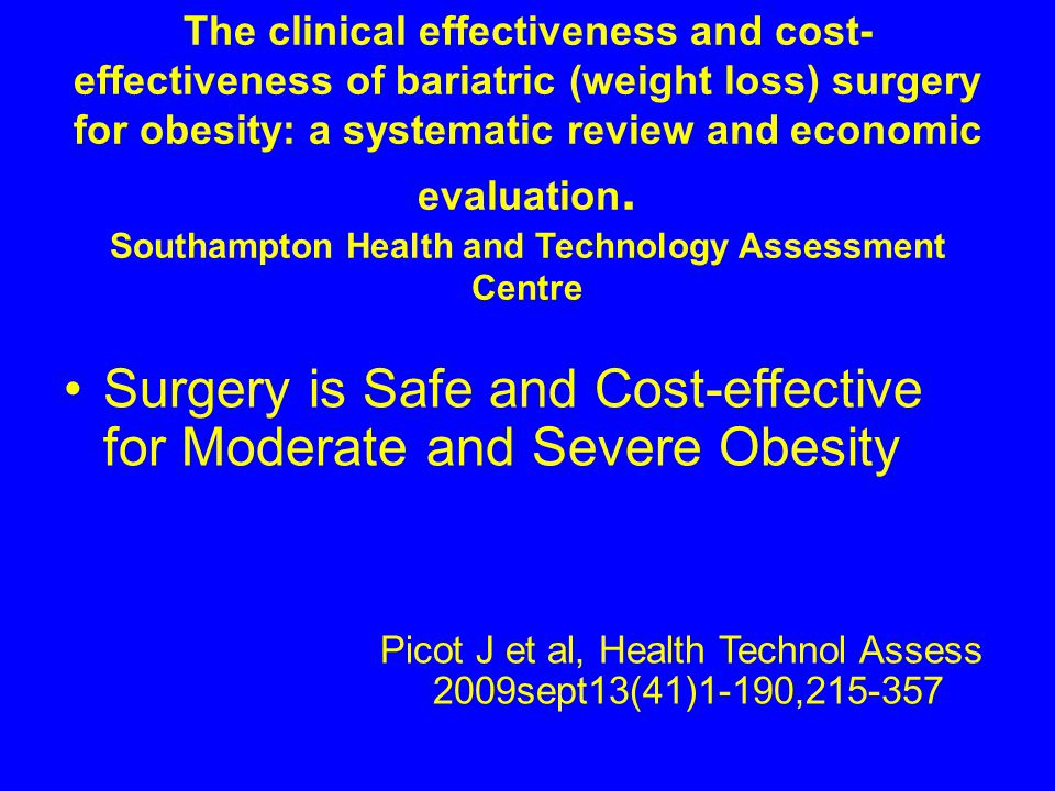 Surgery is Safe and Cost-effective for Moderate and Severe Obesity