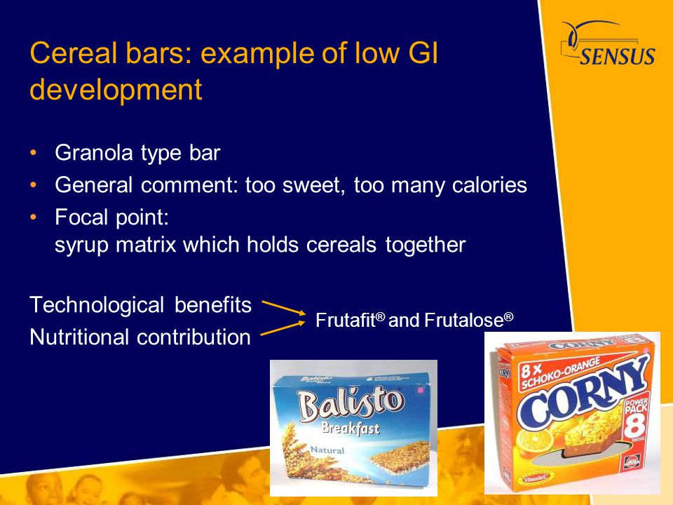 Cereal bars: example of low GI development