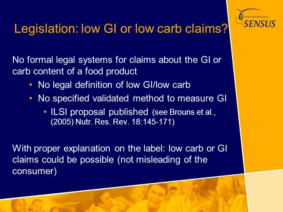 Legislation: low GI or low carb claims