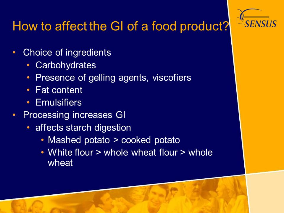 How to affect the GI of a food product