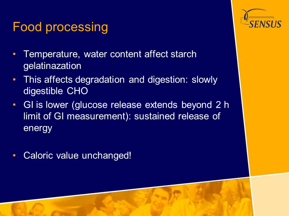 Food processing Temperature, water content affect starch gelatinazation. This affects degradation and digestion: slowly digestible CHO.
