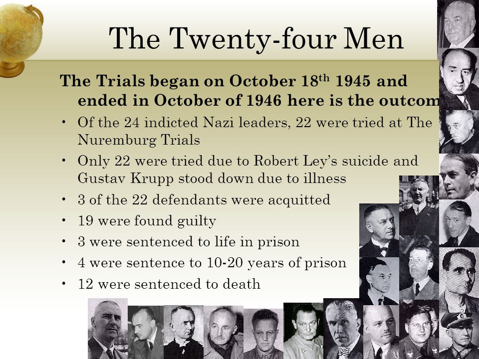 The Twenty-four Men The Trials began on October 18th 1945 and ended in October of 1946 here is the outcome.