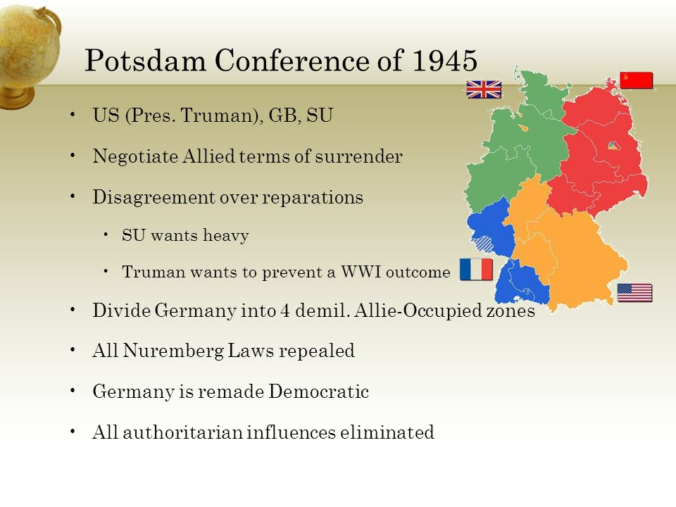 Potsdam Conference of 1945 US (Pres. Truman), GB, SU