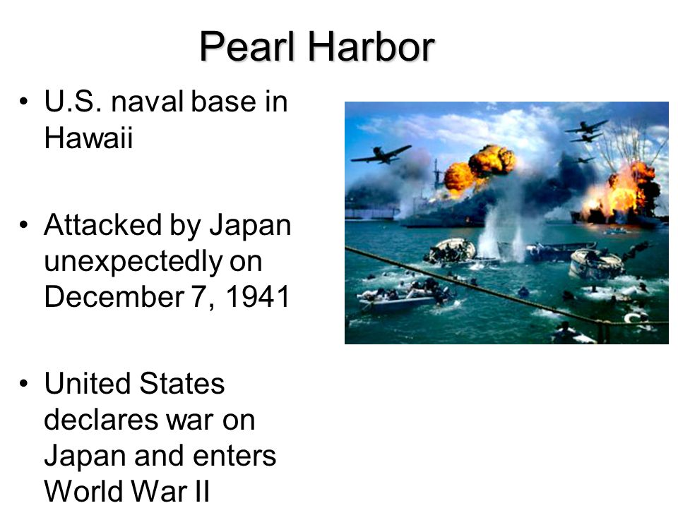 Pearl Harbor U.S. naval base in Hawaii