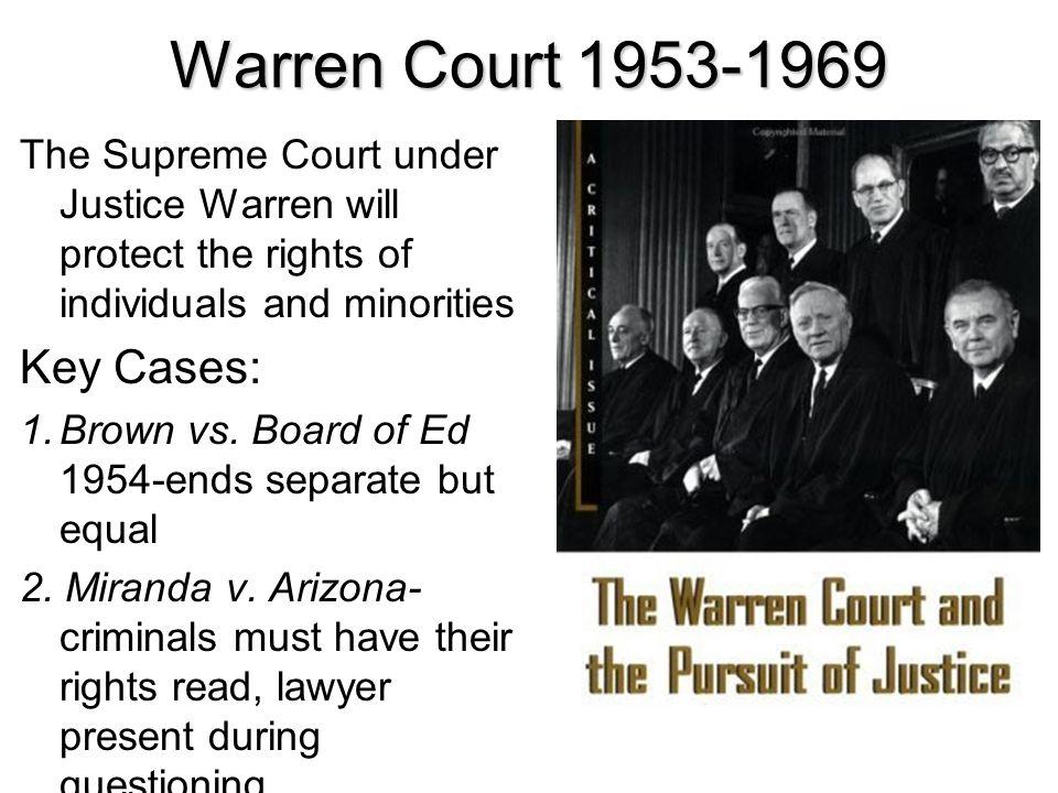 Warren Court 1953-1969 Key Cases: