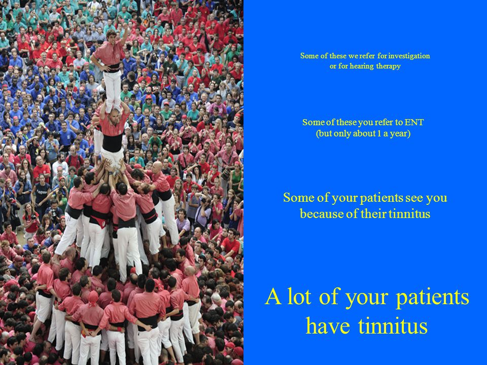 A lot of your patients have tinnitus Some of your patients see you