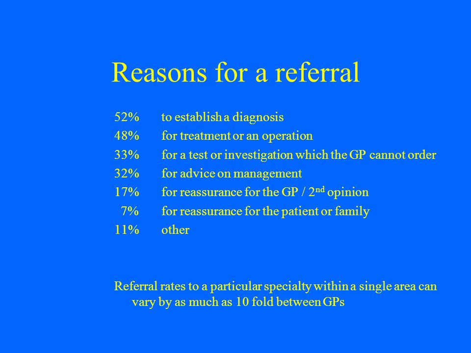 Reasons for a referral 52% to establish a diagnosis