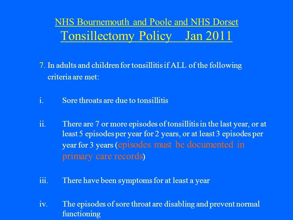 NHS Bournemouth and Poole and NHS Dorset Tonsillectomy Policy Jan 2011