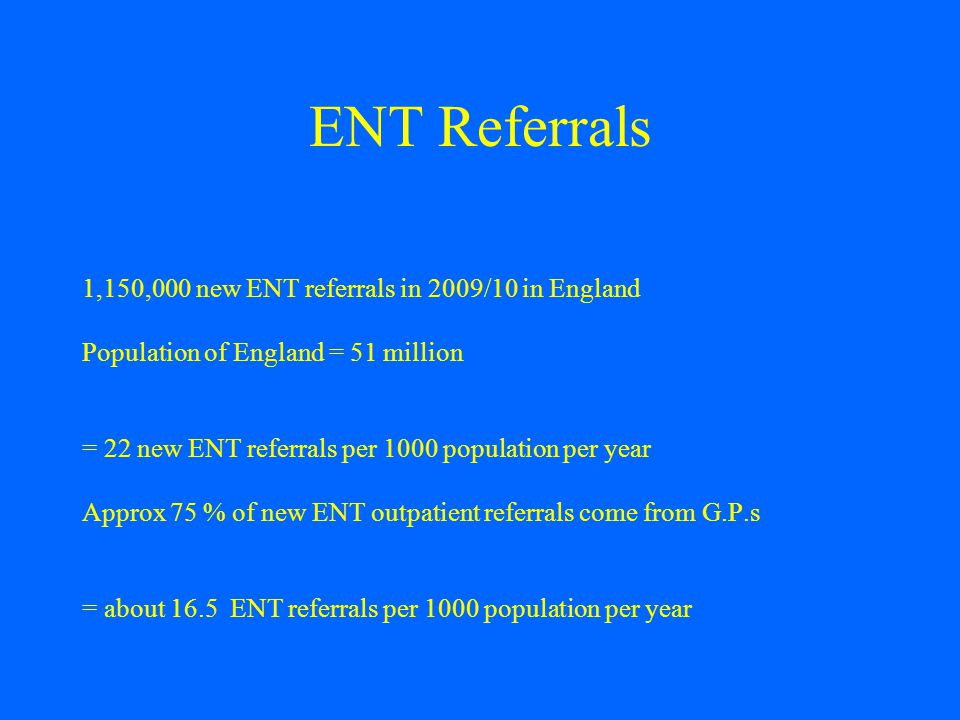 ENT Referrals 1,150,000 new ENT referrals in 2009/10 in England