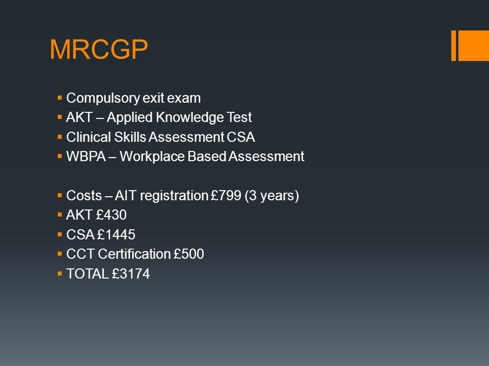 MRCGP Compulsory exit exam AKT – Applied Knowledge Test