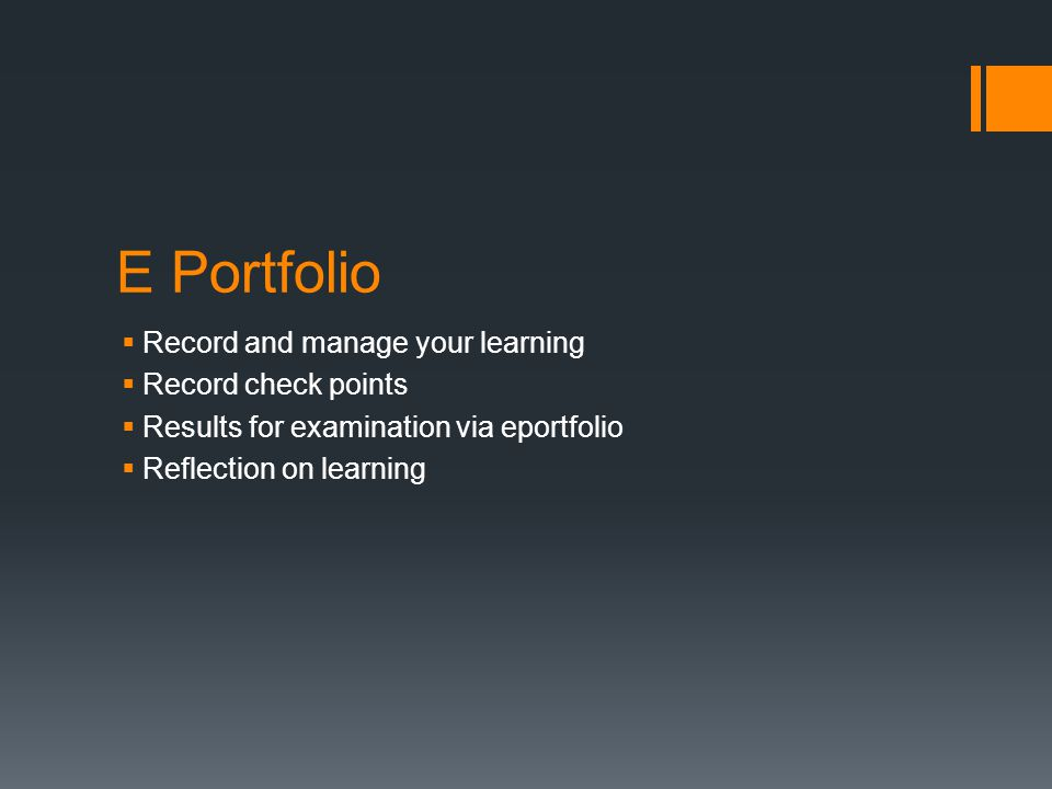 E Portfolio Record and manage your learning Record check points