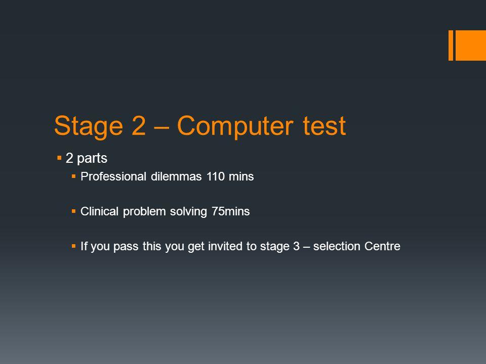 Stage 2 – Computer test 2 parts Professional dilemmas 110 mins