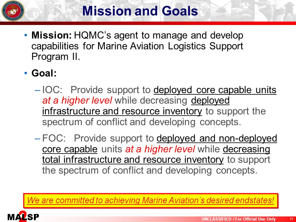 Mission and Goals Mission: HQMC's agent to manage and develop capabilities for Marine Aviation Logistics Support Program II.