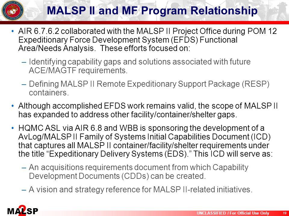 MALSP II and MF Program Relationship