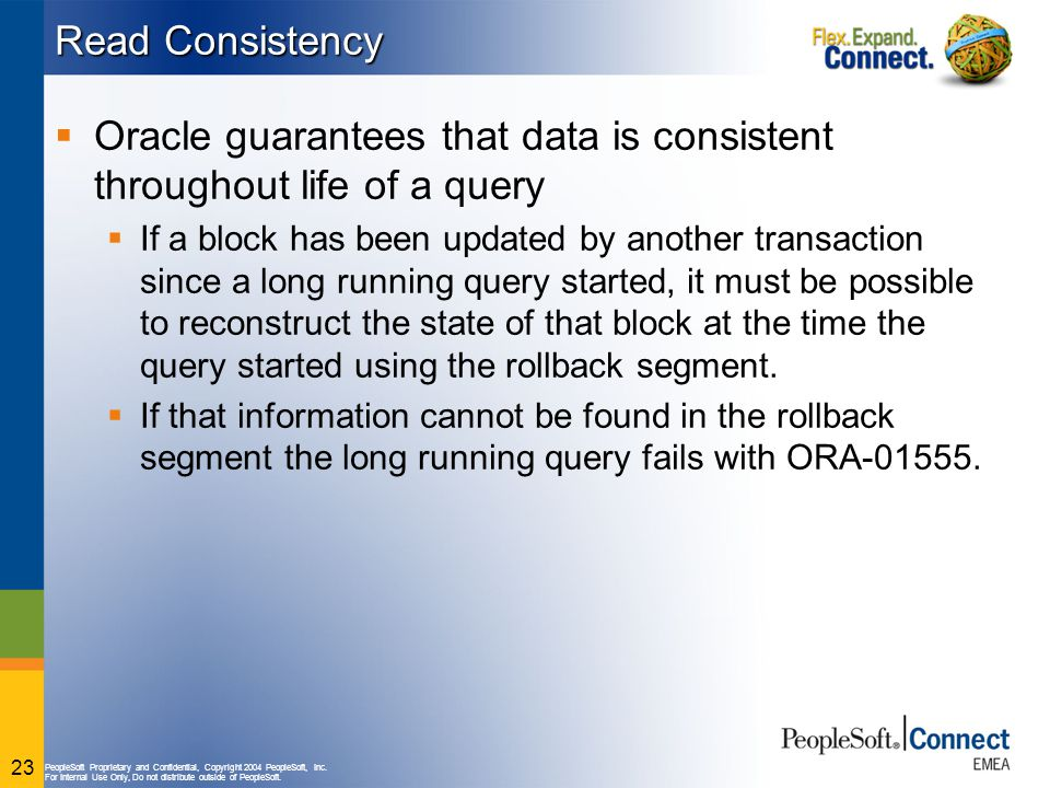 Oracle guarantees that data is consistent throughout life of a query