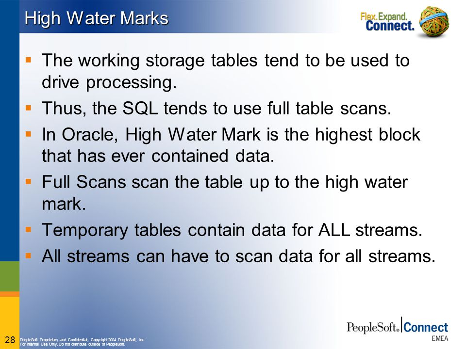 High Water Marks The working storage tables tend to be used to drive processing. Thus, the SQL tends to use full table scans.