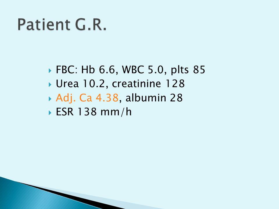 Patient G.R. FBC: Hb 6.6, WBC 5.0, plts 85 Urea 10.2, creatinine 128