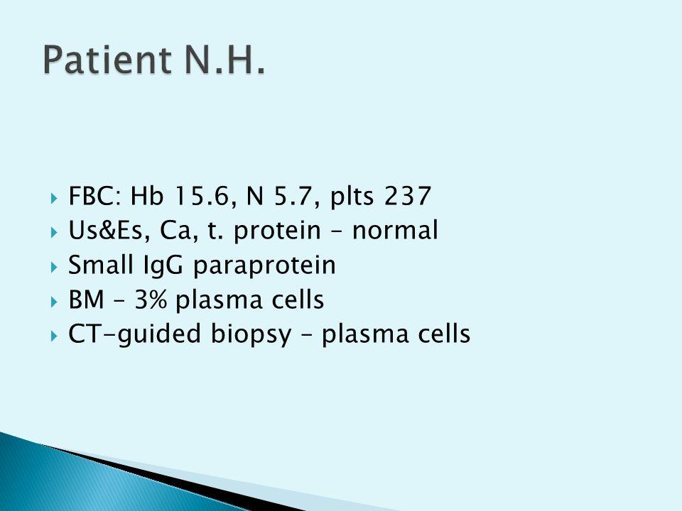 Patient N.H. FBC: Hb 15.6, N 5.7, plts 237