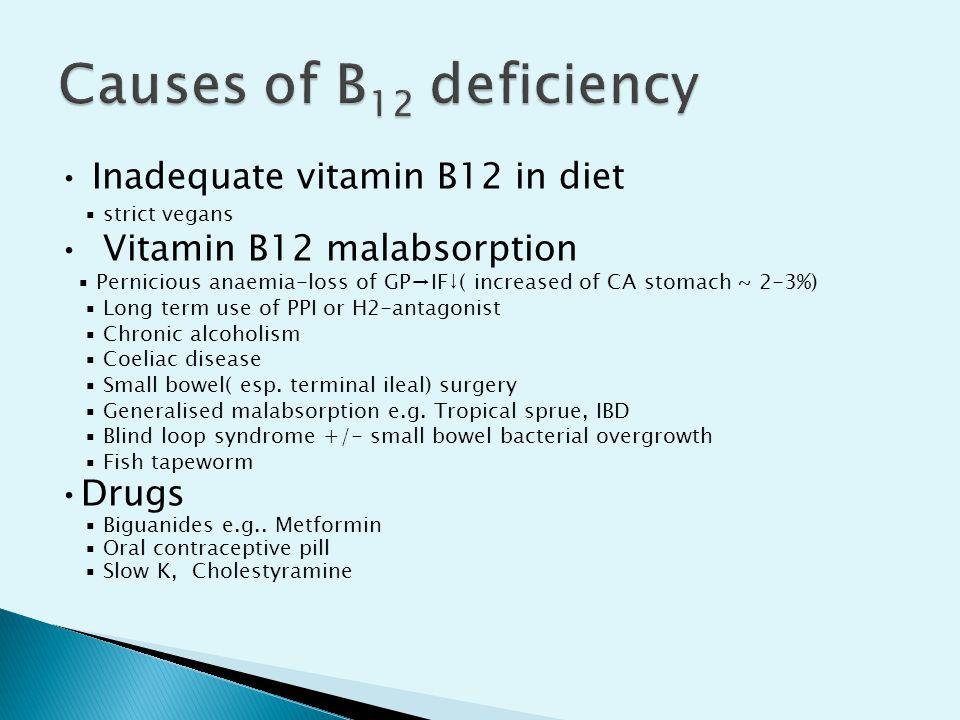 Causes of B12 deficiency • Inadequate vitamin B12 in diet