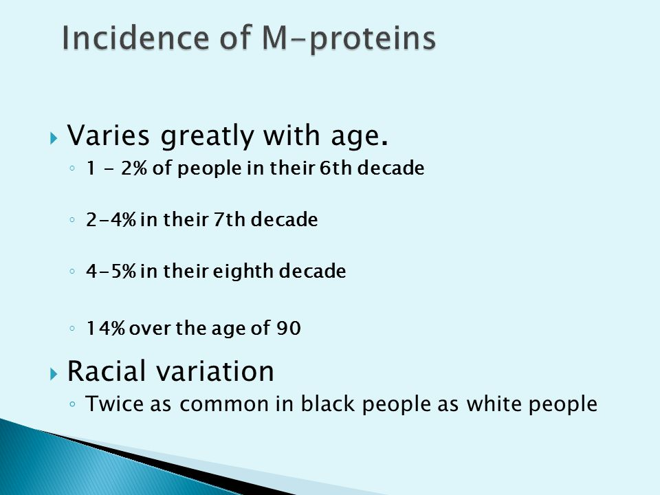 Incidence of M-proteins
