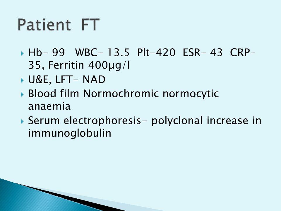 Patient FT Hb- 99 WBC- 13.5 Plt-420 ESR- 43 CRP- 35, Ferritin 400µg/l
