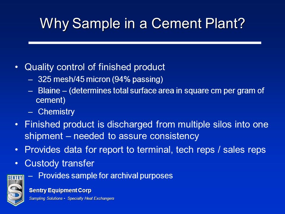 Why Sample in a Cement Plant