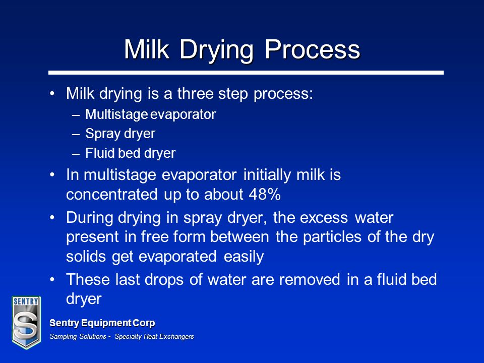 Milk Drying Process Milk drying is a three step process: