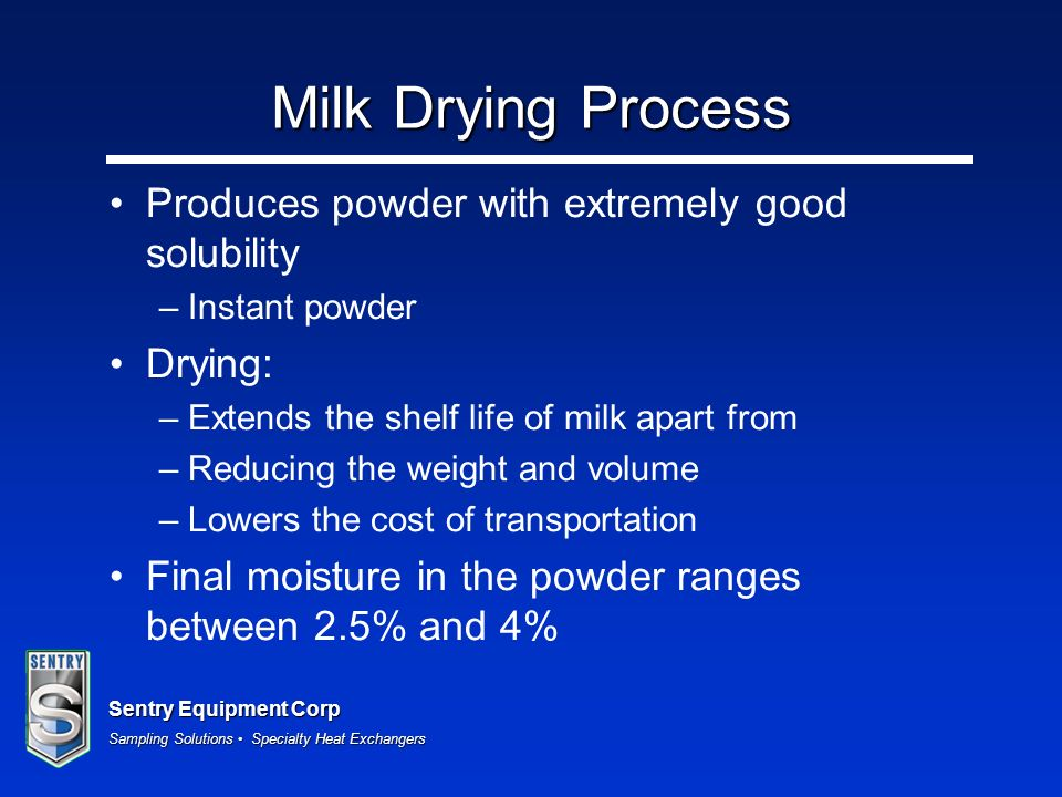 Milk Drying Process Produces powder with extremely good solubility