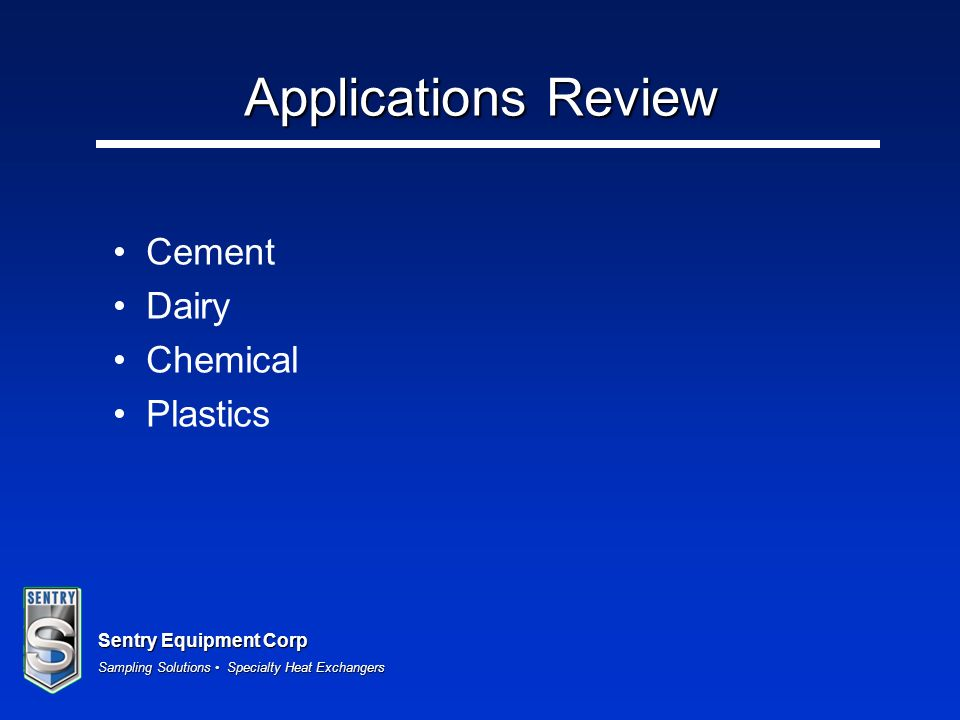 Applications Review Cement Dairy Chemical Plastics