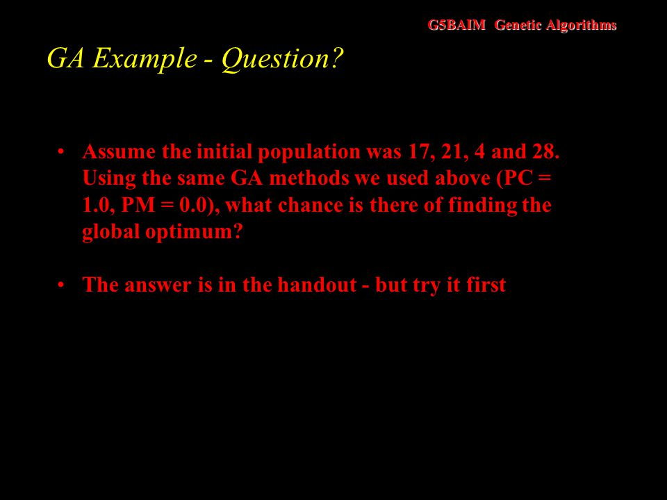 GA Example - Question