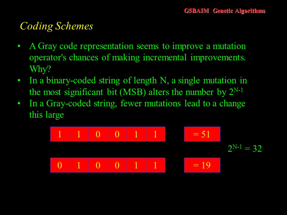 Coding Schemes A Gray code representation seems to improve a mutation operator s chances of making incremental improvements. Why