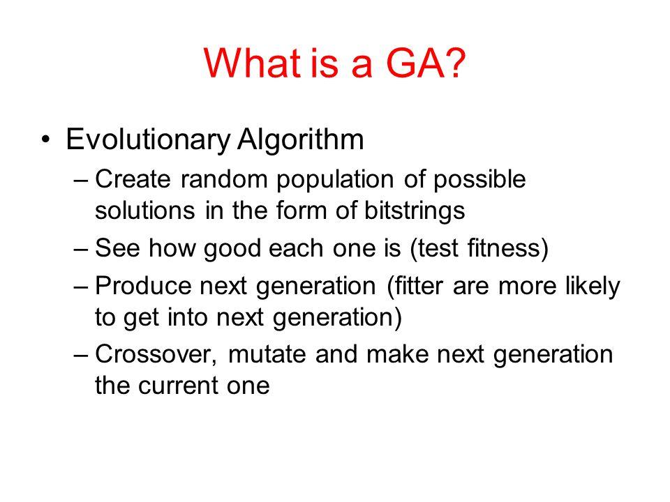 What is a GA Evolutionary Algorithm