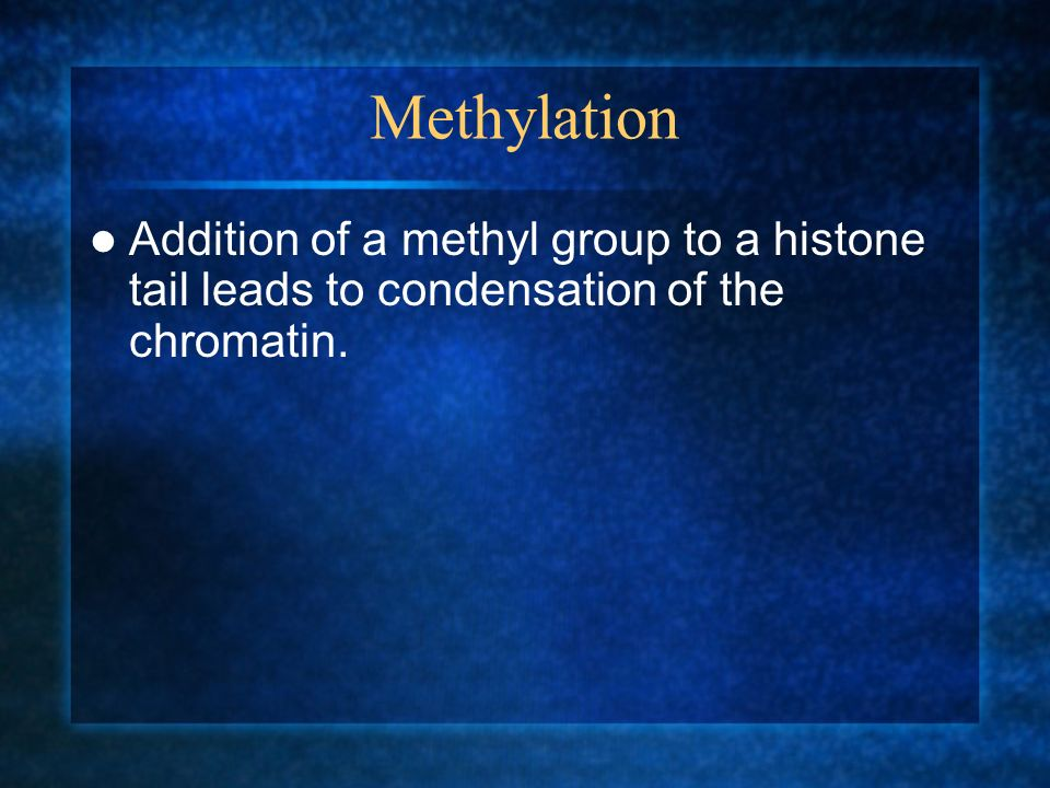 Methylation Addition of a methyl group to a histone tail leads to condensation of the chromatin.