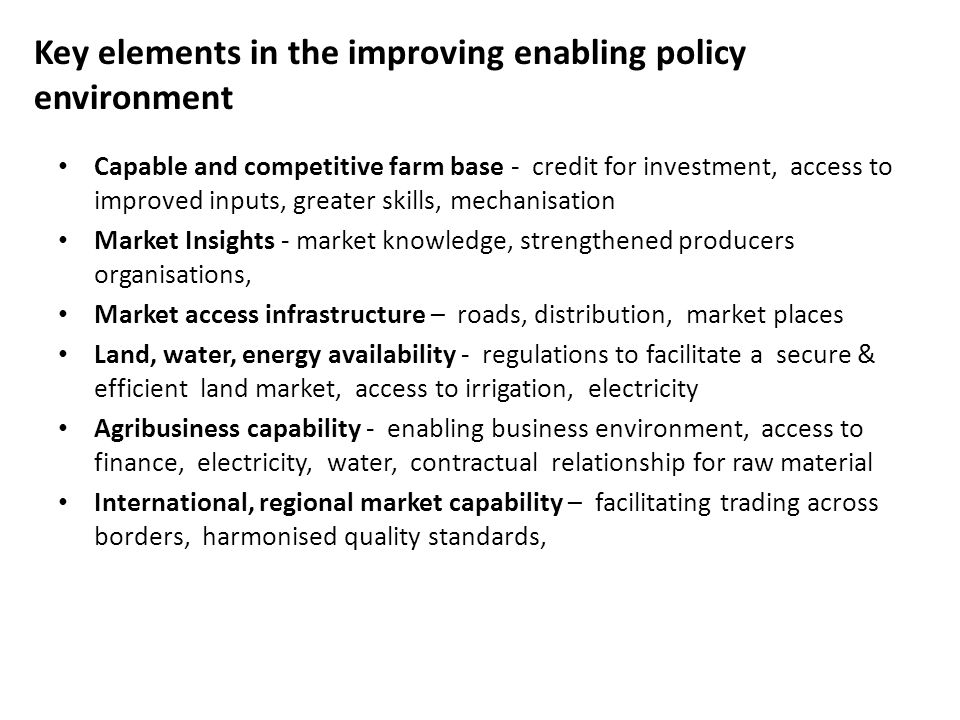 Key elements in the improving enabling policy environment