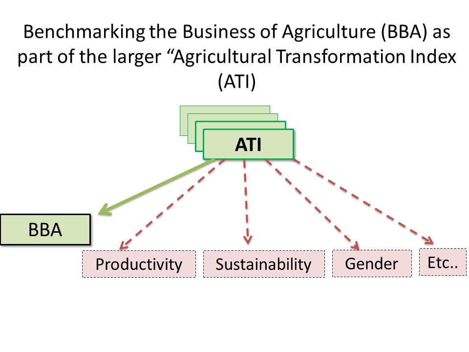Benchmarking the Business of Agriculture (BBA) as part of the larger Agricultural Transformation Index (ATI)
