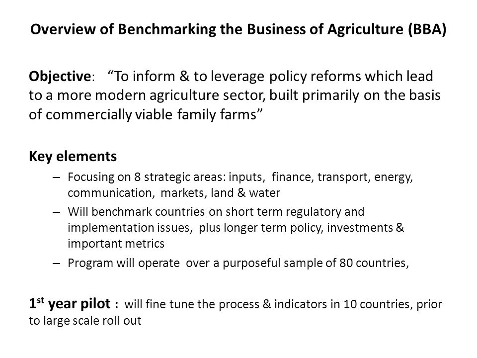 Overview of Benchmarking the Business of Agriculture (BBA)