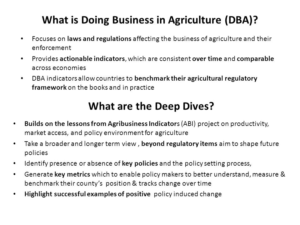 What is Doing Business in Agriculture (DBA)