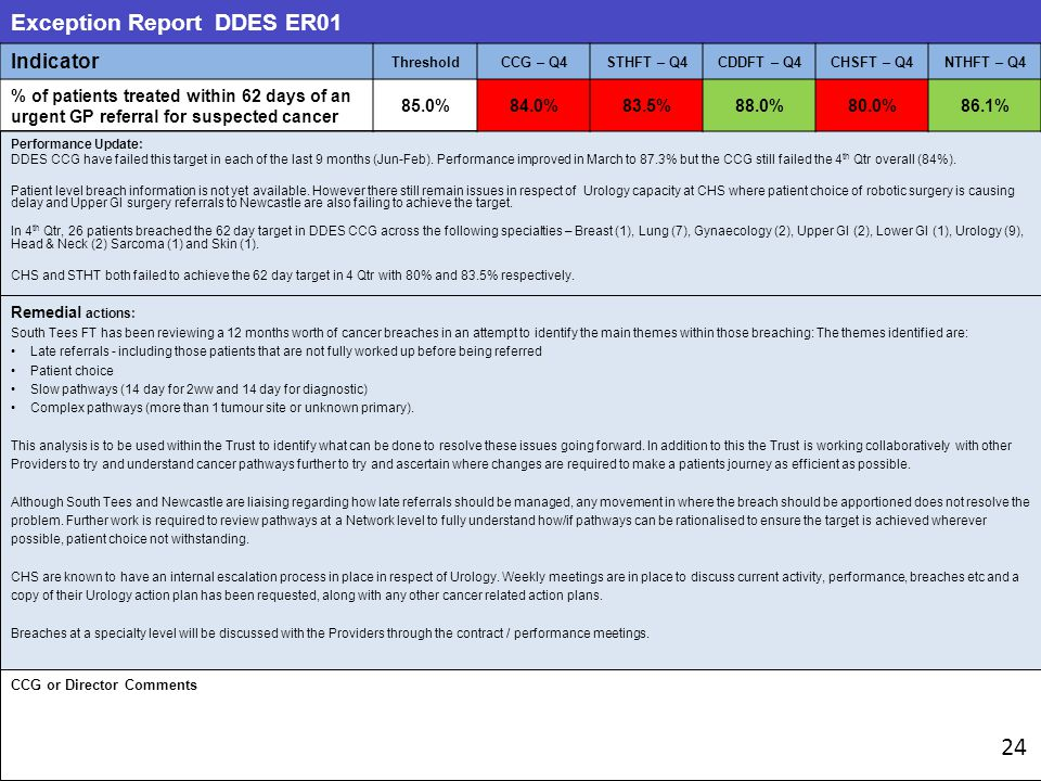 Exception Report DDES ER01