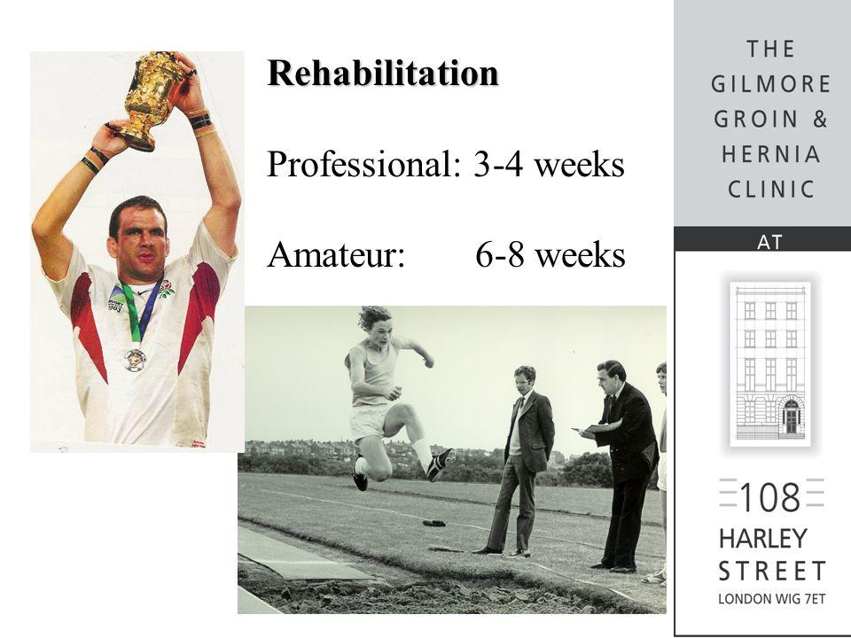 Rehabilitation Professional: 3-4 weeks Amateur: 6-8 weeks
