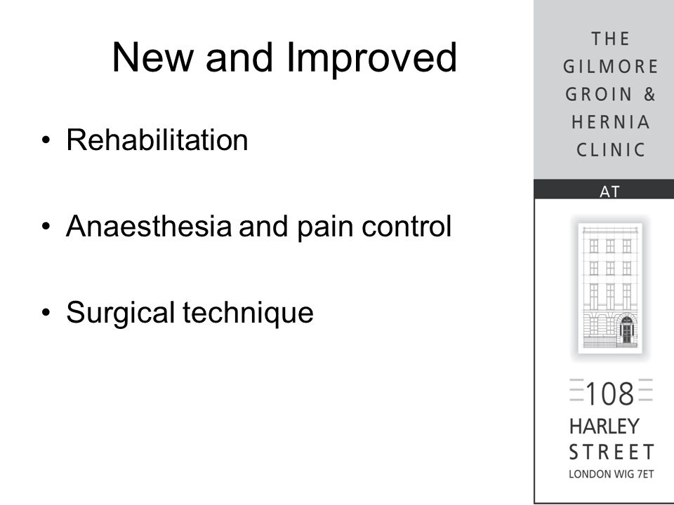 New and Improved Rehabilitation Anaesthesia and pain control