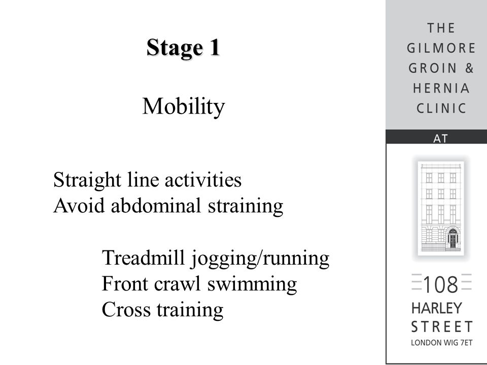 Stage 1 Mobility Straight line activities Avoid abdominal straining