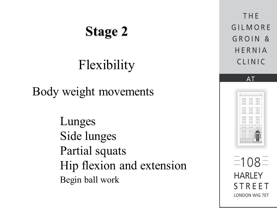 Stage 2 Flexibility Body weight movements Lunges Side lunges