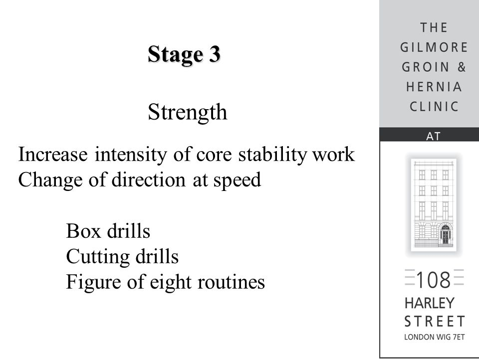 Stage 3 Strength Increase intensity of core stability work