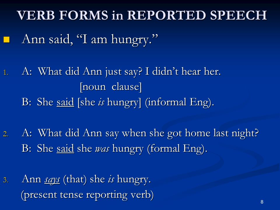 VERB FORMS in REPORTED SPEECH