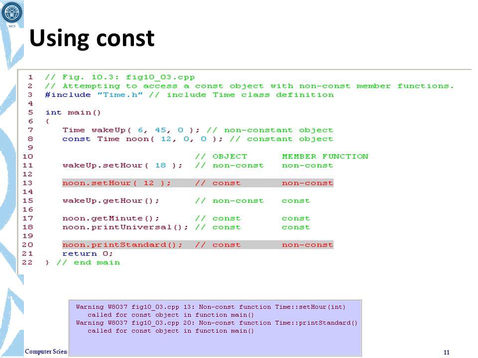 Using const CPS235:Classes