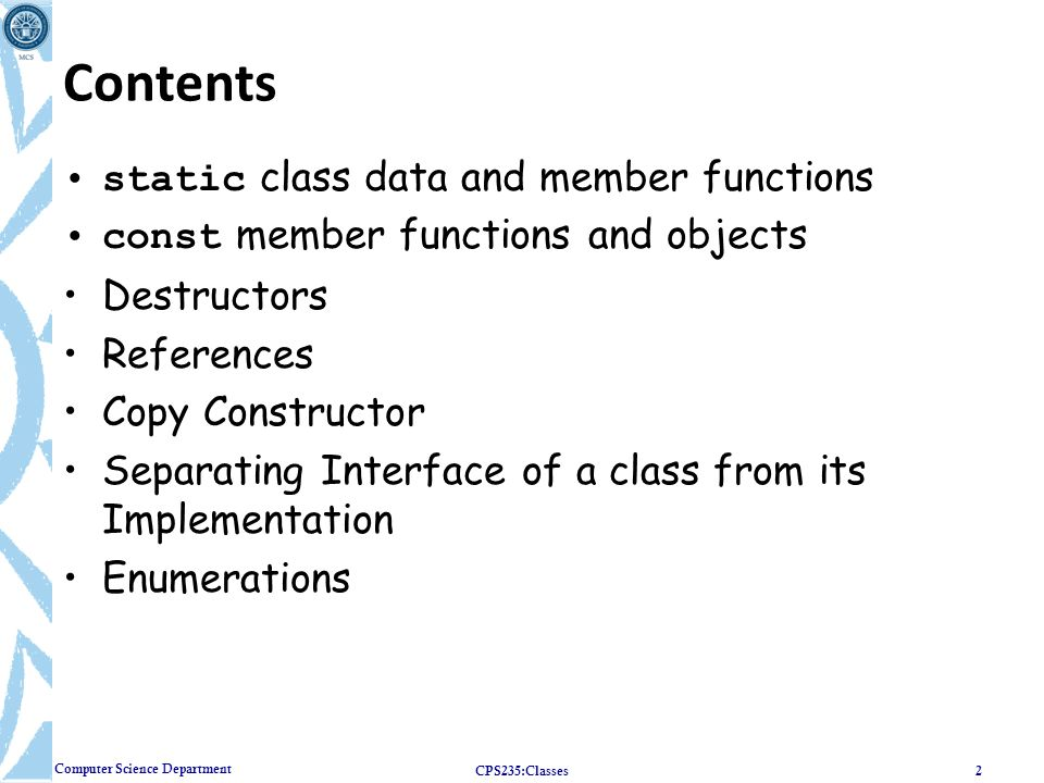 Contents static class data and member functions