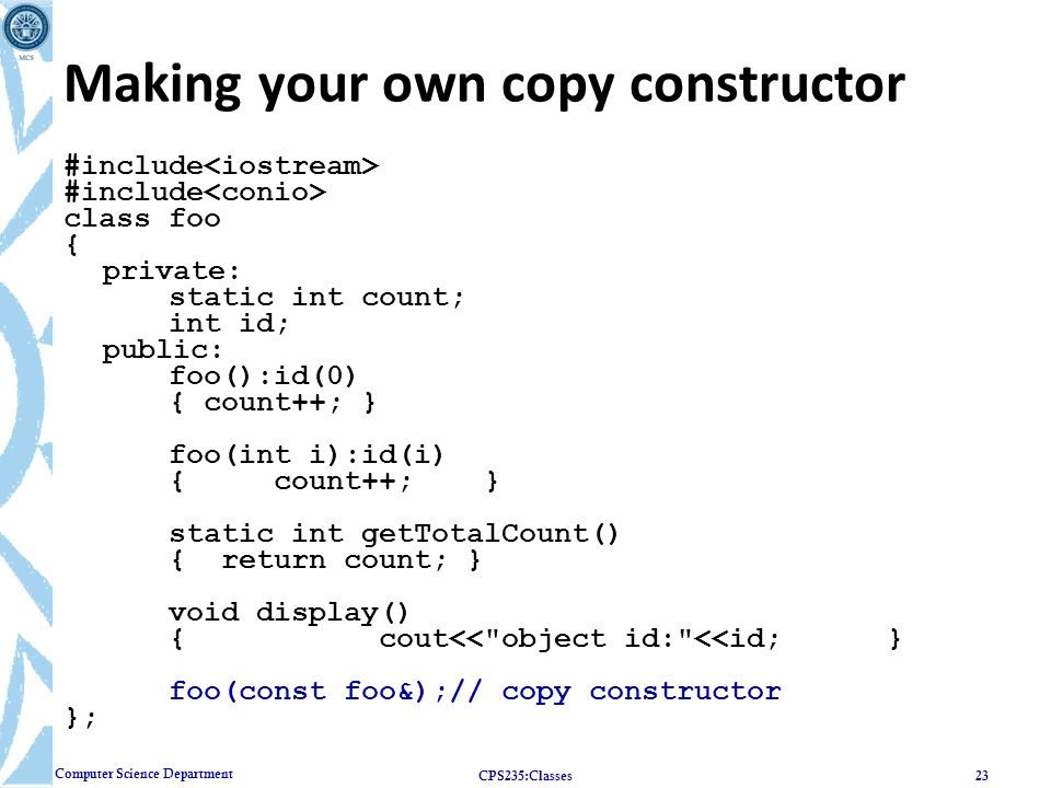 Making your own copy constructor