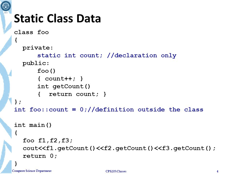 Static Class Data