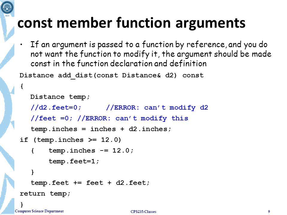 const member function arguments