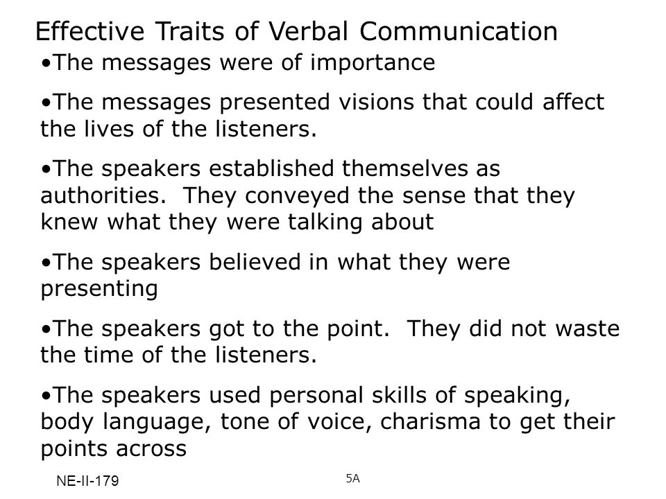 Effective Traits of Verbal Communication